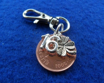 """16th Birthday present 2002 British coin bag charm for a 16th birthday gift """"16"""" charm British coin"""
