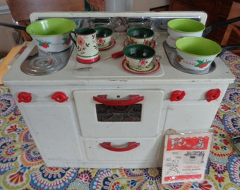 Kitschy Vintage Toy Electric Stove Little Lady Cook Book Ohio Art toy dishes teacups Pitcher Strawberry Pots