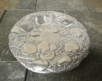 Arthur Court Pewter Dish  with fruit design , Candy or tidbit tray 1990
