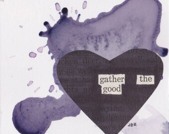 "Gather the Good  - Blackout Poetry and Tea (3""x3"" Print) from The Little Women Collection"