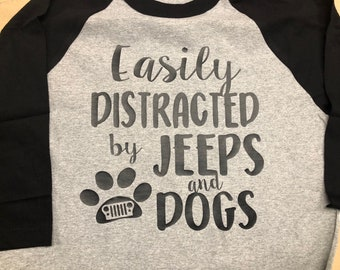 Easily Distracted by jeeps and dogs regular  t-shirt - avail in other colors.