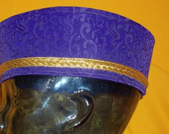Just for the Man in your life. Crown him Best Dad Ever. Custom Purple Brocade Crown in Military Cut  and accented with a double gold band.