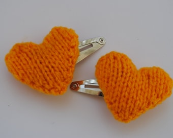 Knitted Heart Hair Clip in Yellow