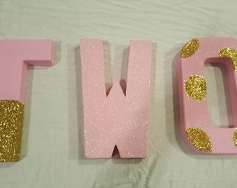 Pink and Gold Letters-photo prop party paper mache letter kids party  birthday party polka dot painted glitter letter two princess party