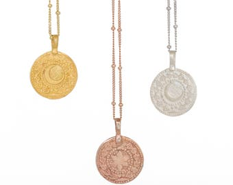 Sun-Moon Rose Gold Necklace