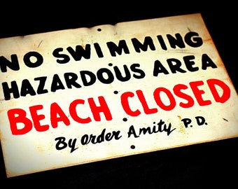 JAWS Large Life-Size Amity Beach Closed No Swimming Distressed Wooden Sign Prop