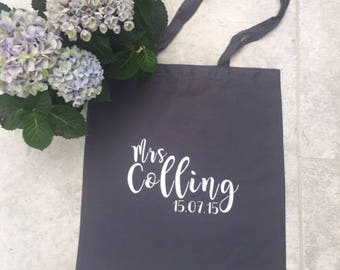 Mrs Personalised cotton canvas Bag, Wedding, Gifts, Custom