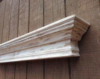 Distressed Floating wall shelf, Fireplace mantle shelf, The Distressed Beveled Shelf