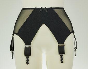 Black or White GRACE Semi Sheer V Style Garter Belt Wide Suspender Belt Size XS-4XL