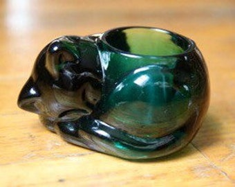 Kitty Cat Emerald Green votive glass Candle holder Vintage Indiana Glass Perfect Condition