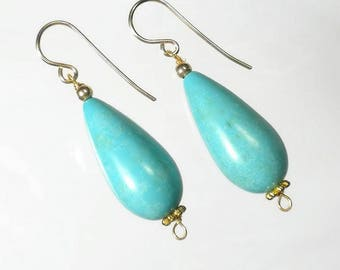 Large Turquoise Drop Earrings Turquoise Earrings Gold Turquoise Teardrop Earrings