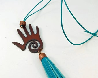 Handmade Necklace, Oxidized Iron Hand, Copper, Blue Leather Adjustable Cord, Blue Leather Tassel