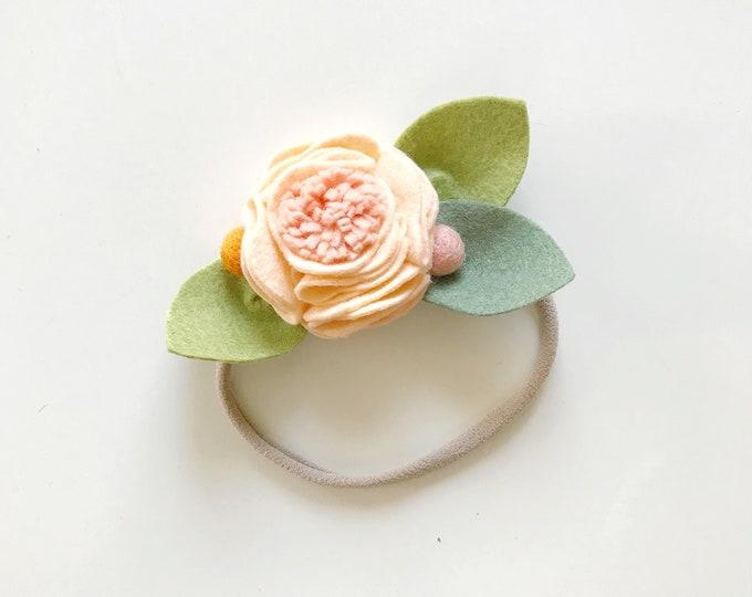Felt Flower Headband or Alligator Clip //  Georgia Peach, Giddyupandgrow