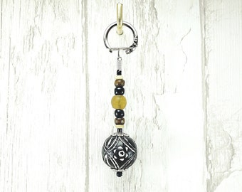 New! Tribal Ethnic Bohemian Style Key Ring with a Large Terracotta Black and White Bead. Handmade in France.