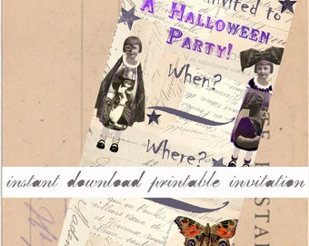 Halloween Instant Download Party Invitation - Printable - Victorienne's Halloween Party