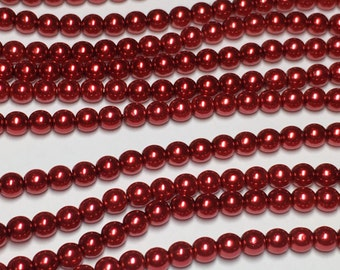 120 4mm Round Preciosa glass pearls, red