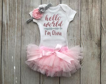 Baby Girl Coming Home Outfit in Light Pink - Personalized Baby Girl Outfit - Girl Hello World Outfit - Bubblegum Necklace - Newborn Photos