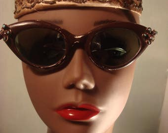 RESERVED Angie 1950s Vintage Boho Gypsy Brown Frame Cat Eye Sunglasses