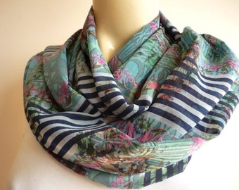 Navy and White Striped Infinity Scarf /Circle Scarf /Loop Scarf/Tube Scarf