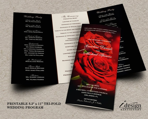 Wedding Program With Red Roses Printable Romantic Wedding