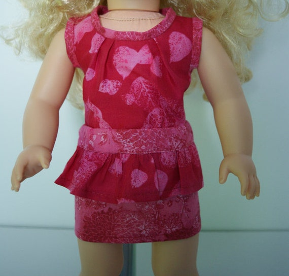 2-piece Outfits with Aloha Top and Peplum Skirt for 18-inch Dolls such as American Girl