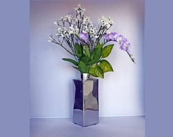 Small Rectangular Bright Silver Metallic Glass Bud Vase