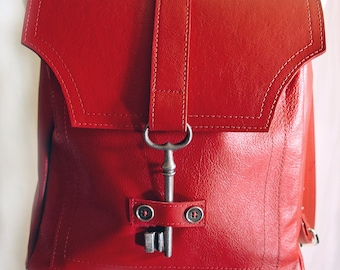 Red Leather Backpack with Antique Key - Steampunk Backpack - Red Leather Book Bag Rucksack MADE TO ORDER