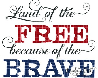 Land of the Free Quote SVG Vector Printable Cutable