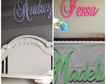 "Wooden Name  12"" 15"" or 18"" Capital Letter  Unpainted or Painted Connected Wood Name Boys and Girls Name Wall Letters"