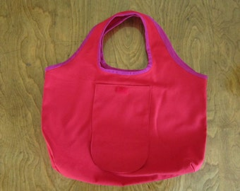 Red Cotton Foldable Tote Bag