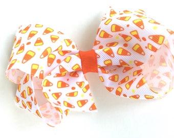 Candy corn hair bow - Halloween hair bow, hair bows for girls, hair bows, girls hair bows, toddler hair bows, baby bows, boutique hair bows