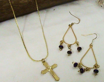 Beautiful Gold Crucifix Charmed Necklace with Gold Dangling Earrings with Mini Purple Beads - Best Gift Ideas, Best Spiritual GIfts