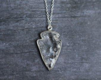 """Sterling Silver Raw Quartz Crystal Arrowhead Necklace, Wedding, Arrowhead Necklace, Quartz Arrowhead, 16"""" or 18"""""""