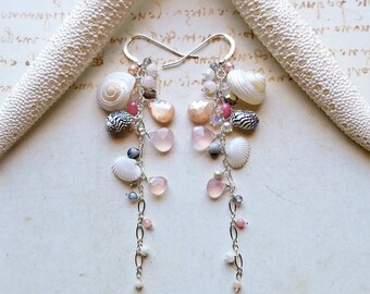 Long Shell Dangle Earrings, Pink Grey Dangle, Shell Cluster Earrings, Beachy Dangle Earrings, Beach Shell Earrings