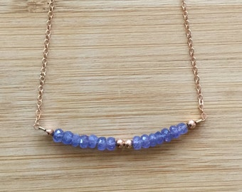 Delicate Tanzanite Necklace, Rose Gold Filled Chain, Rose Gold Jewelry, December Birthstone Necklace, Beaded Necklace, Tanzanite Jewelry