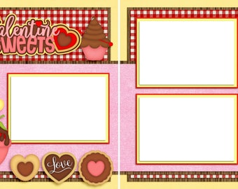 Valentine Sweets - Digital Scrapbooking Valentine Quick Pages - INSTANT DOWNLOAD