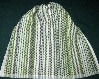 Crochet Kitchen Hanging Towel green stripes, Sage top Better Homes