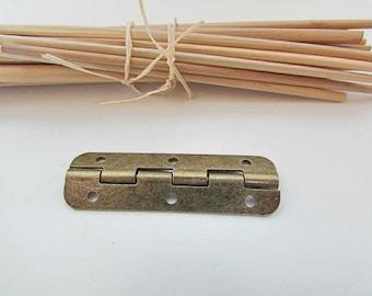 2 hinged box 5 x 1.5 cm for box, door, decoration, metal bronze - 420.2