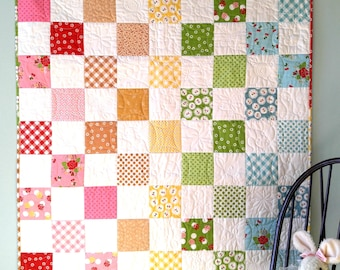 Rustic Farmhouse Baby Quilts | Patchwork Quilts | Homemade Handmade Quilts Baby Girl | Crib Bedding Floral Cherries | Baby Shower Gift Ideas