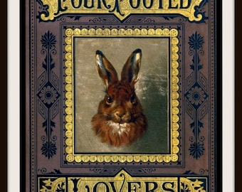 Rabbit Art Print ~ Vintage Book Cover ~ Four Footed Lovers ~ Wild Hare Print ~ Rabbit Wall Art ~ Rustic Cabin Decor ~ Wildlife Poster