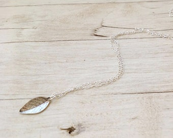 Silver necklace, leaf necklace, dainty necklace, sterling silver necklace with tiny silver leaf, everyday necklace, leaf jewelry, - D40
