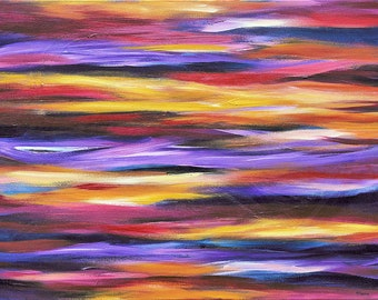 Abstract painting, original abstract acrylic painting on canvas, colorful wall decor, purple painting, wall art