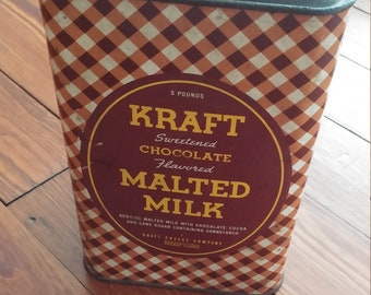 Antique Kraft Sweetened Chocolate Flavored Malted Milk Tin