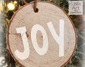 IVORY Joy Rustic Ornament | Reclaimed Wood Christmas Ornament | Hostess Gift