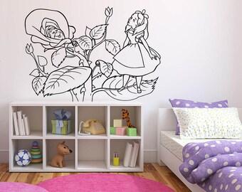 Wall Sticker Decals Alice In Wonderland Cartoon Rabbit Tea Time Cheshire Cat Girl Nursery Bedroom 1359b