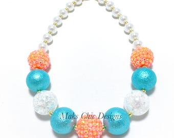 Toddler or Girls Tropical Chunky Necklace - Neon Orange, Turquoise and White Necklace - Fish necklace - Under the Sea Birthday Necklace