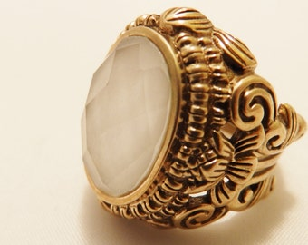 Quartz Semi Precious Natural Stone Large Chunky Ring