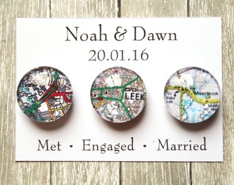 Wedding Favour Glass Magnet Sets ~ Fridge Magnets ~ Refridgerator Magnets ~ Wedding Gift ~ Personalised Map Wedding Favours ~ Engaged ~