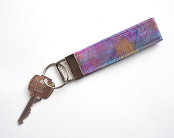 Key Wrist Strap, Key Fob Keychain, Key Strap, Art Teacher Gift, Fabric Keychain, Colorful Keychain Wristlet, Birthday Gift for Her