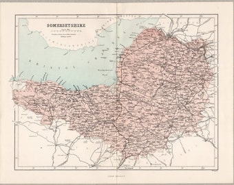 Vintage map of Somersetshire, published circa 1862, Virtue Imperial Gazetteer #00026